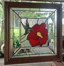 Tiffany Style Stained Glass Window Panel SunCatcher Hummingbird & Flower  Framed