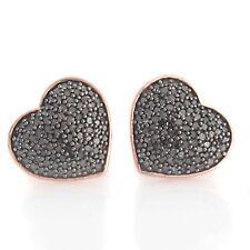 18K Rose Gold Over Sterling Silver 0.60 Black Diamond Heart Stud Earrings Q565