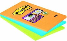 Post-it Super Sticky Note Pad, Lined Neon Colours, 101 x 152 mm Pack of 3 Pads,