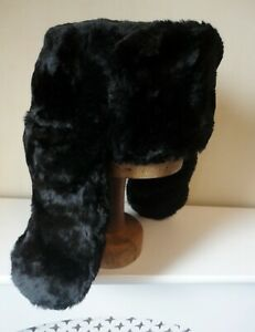 Black Faux Fur Russian/Aviator/Trapper Hat Neck & Ear Flap. Lined. XL/60 cm.