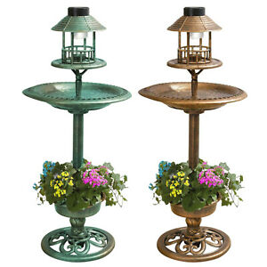 Garden Bird Bath Feeding Station Planter Solar Powered Light Ornament