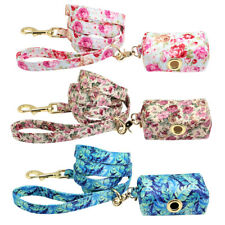 Fancy Floral Nylon Dog Lead Leash & Poop Bag Dispenser Holder Pet Waste Pick Up