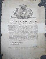 1750 133) BANDO DA TORINO SU SETERIE BACHI DA SETA E COCCHETTI