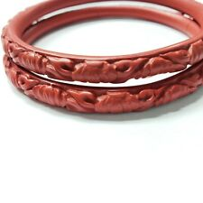 2 Vintage Chinese Carved Red Cinnabar Floral Carved Bangle Bracelet