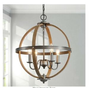 Globe 4-Light Rustic Oil Rubbed Bronze Orb Modern Farmhouse Open Caged Chandelie