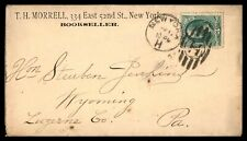 NEW YORK STATION H BOOKSELLER APRIL 12 1870s AD COVER TO WYOMING PA
