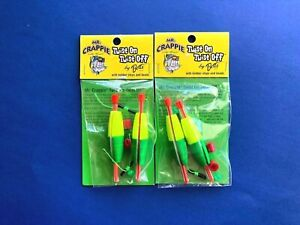 "2 PACKS - MR. CRAPPIE  TWIST ON TWIST OFF SLIP BOBBER ""YELLOW GREEN"" 2-COUNT"