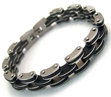 Men's Bracelet Surgical Steel Black Rubber Biker 8.25 inches New