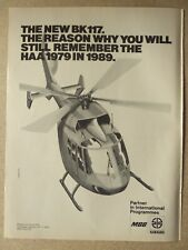 1/1979 PUB MBB KAWASAKI  HELICOPTERE BK 117 HELICOPTER HUBSCHRAUBER ORIGINAL AD