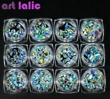 12 Boxes Crystal Water Droplets Heart Geometry Diamond DIY Nail Art Decorations