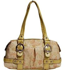 New Kathy Van Zeeland Floral Satchel Tote Bag Purse Yellow Gold Shimmer