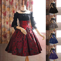 Medieval Renaissance Women Lace up Dress Lolita Party Palace Cosplay Costume