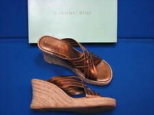 7.5 Gianni Bini Gold Bronze Ladies Women Leather Wedge Heel Shoes Sandal Weaver