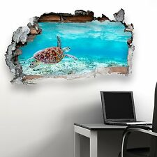 BROKEN WALL SEA TURTLE V3 KIDS BEDROOM WALL STICKER VINYL TRANSFER MURAL DECAL