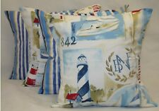 "4 x Nautical Cushion covers, ""Yacht club"", & ""TRURO"" 100% cotton,16""x16"""