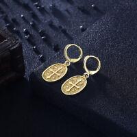 """Aventura Jewelry 18K Gold Plated Cross """"Devotion"""" CROSS Drop Earrings"""