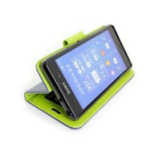 CoverON® For Sony Xperia Z3V Wallet Case - Navy & Neon Green Credit Card Folio