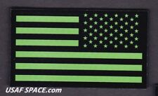 AUTHENTIC US MILITARY IR INFRARED REFLECTIVE REV GREEN US FLAG HOOK & LOOP PATCH