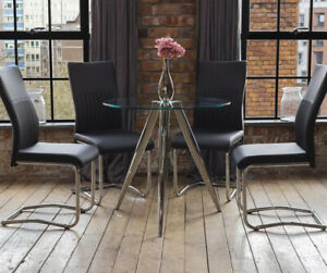 SKYE Luxury Round Glass Dining Table Set With 4 Black Chrome Leather Chairs