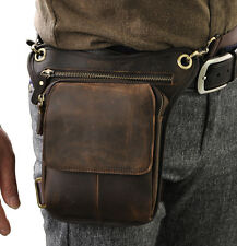 Men Genuine Leather Riding Motorcycle Fanny Waist Belt Pack Drop Leg Bags