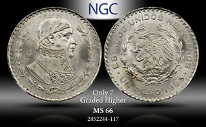 1963-MO MEXICO 1 PESO NGC MS 66 SILVER ONLY 7 GRADED HIGHER!
