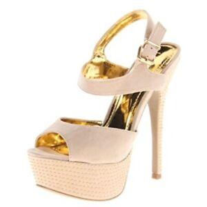 "Liliana Beige and Gold Accent 6"" Stilettos - Size 9"