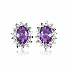2.5ct Purple Alexandrite Earrings Solid Sterling Silver Special Occassion SALE