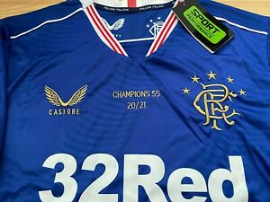 BNWT Glasgow Rangers Champions 2021 Gold 55 Embroidered Shirt XL Gerrard