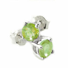 Green Semi-Precious Round Peridot Earrings With 925 Sterling Silver Fittings