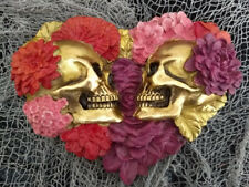 Heart shaped Mr & Mrs Skull Couple with flowers Gothic Home Halloween Decorative