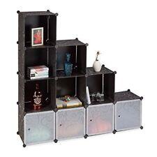 Relaxdays Meuble en Escalier Cubes Système Plastique Noir 37 x 74 5 cm
