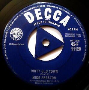 MIKE PRESTON Dirty Old Town VINYL 45 Joe Meek Teen R&R 1st UK Decca Records 1959