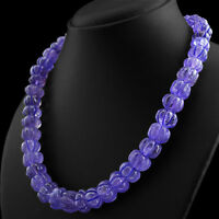 575.50 CTS NATURAL ROUND CARVED PURPLE AMETHYST UNTREATED BEADS NECKLACE (DG)
