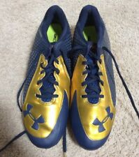 2014 USED NOTRE DAME FOOTBALL TEAM ISSUED UNDER ARMOUR CLEATS SIZE 11.5