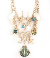 Ocean Crystals Charm Shell Starfish Anchor Necklace&Earring Set Turquoisel
