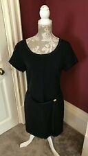 Trent Nathan black scoop neck shift dress linen blend womens size AUS8 US6 UK10