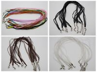 "20 Multi-strand Organza Ribbon Waxen Cord Necklace 17"" Lobster Clasp Color Choic"
