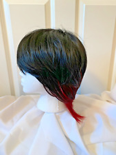 Black & Burgundy Red Short Straight Synthetic Wig - with Bangs