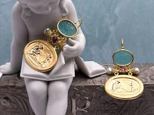 TAGLIAMONTE (1495) 925SS/YGP Venetian Cameo Earrings *Gryphon, Aphrodite,Cupid