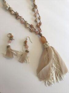 WHAT A TASSEL VII~~Boho aqua blue Czech glass antique brass long tassel necklace~~