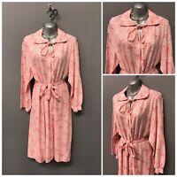 Vintage Pink Floral Retro Dress UK 14 EUR 42