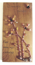 Vintage Wood and Baltic Amber Plaque From Lithuania - Romantic Poem