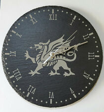 Slate Clock Welsh Dragon Engraved