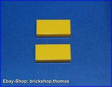 Lego 2 x Fliesen gelb (1 x 2) - 3069b - Tile yellow with Groove - NEU / NEW