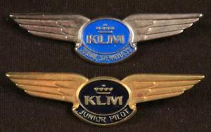 KLM Metal Junior Stewardess & Pilot Wings Pin Vintage 1950s/60s Badges