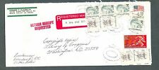 FOUR #2193 + FOUR #1845 SUPER 1987 Great Americans $4.52 Registered Mail Cover