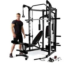 Marcy RS7000 Deluxe Smith Machine, Weights Bench & 140kg Olympic Hex Weight Set