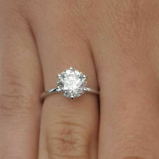 14K White Gold 5 Ct Solitaire Diamond Engagement Wedding Ring Real Fine