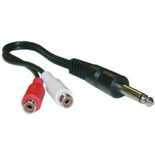 1/4 in Mono Phono to Dual RCA adapter, 1/4 Mono M to Dual RCA F, 6 in