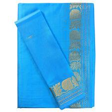 Sari indiano turchese broccato oro abito tradizionale Bindi donna poliestere